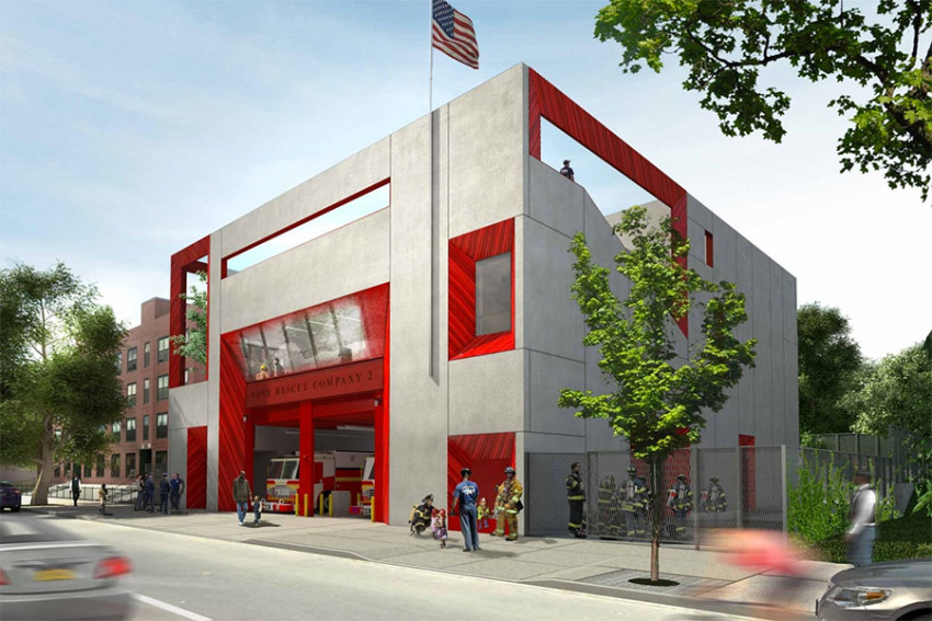 Rendering of Studio Gang's Brownsville fire station