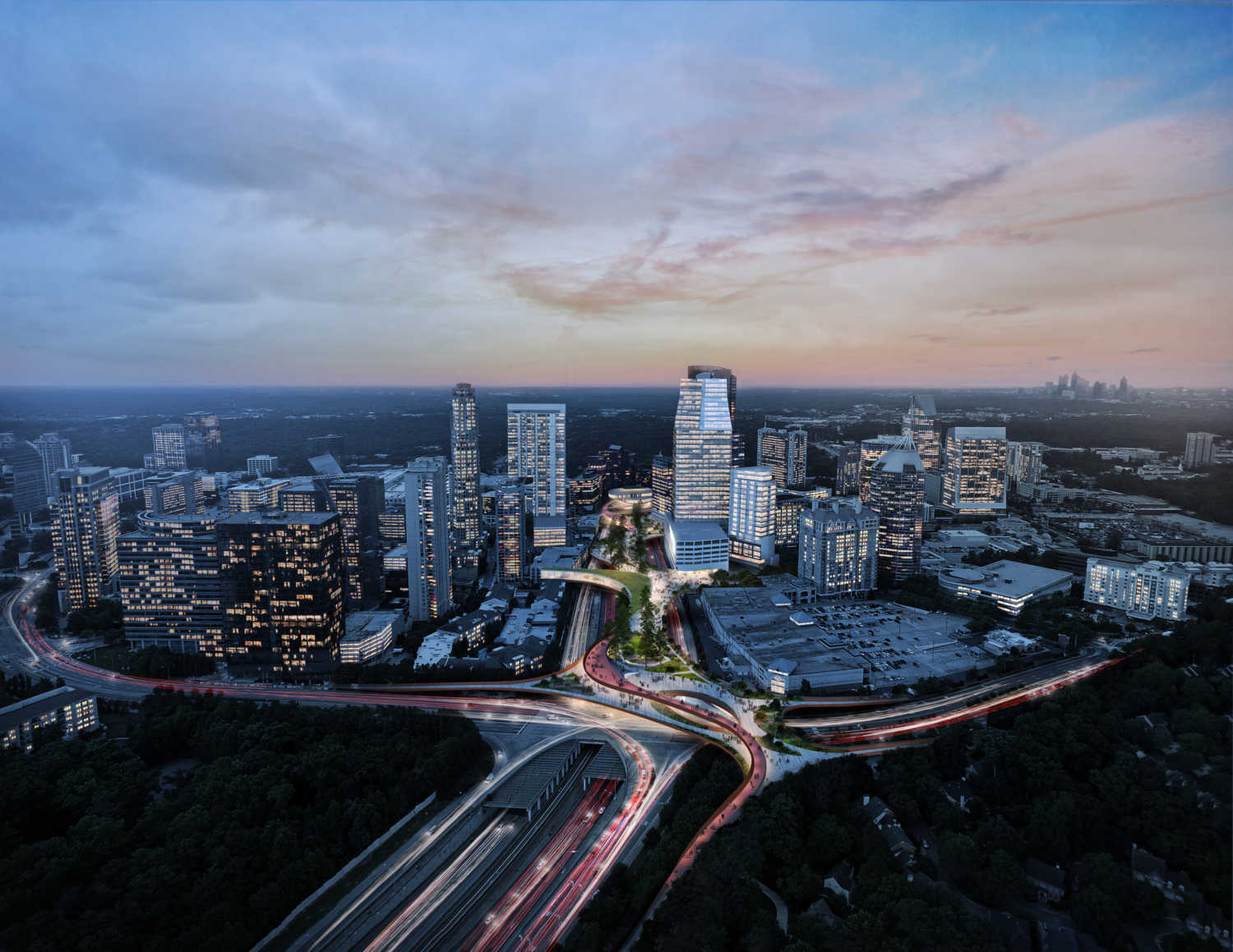 Aerial view of Buckhead Park over GA400 looking south at dusk. The park is expected to cost between $190 million to $245 million. (Courtesy Rogers Partners / Nelson Byrd Woltz)