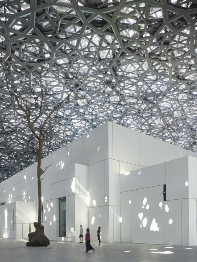 Light raining on the gallery spaces at the Louvre Abu Dhabi
