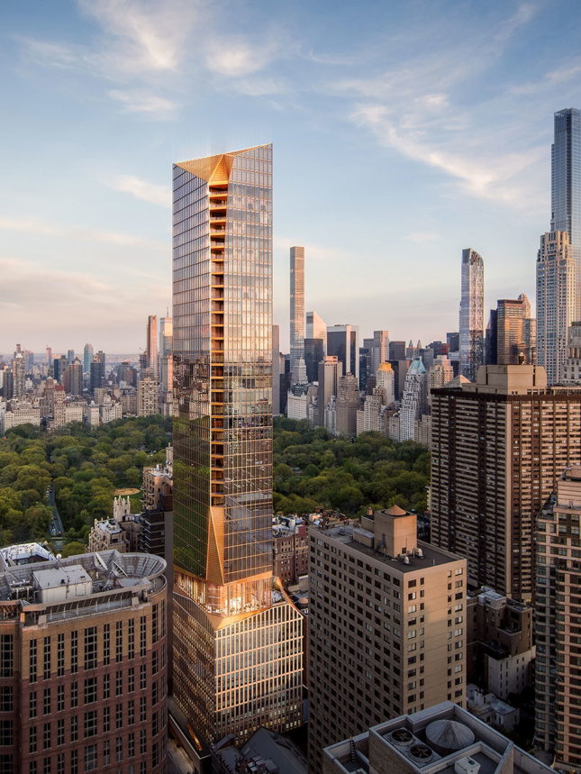 Rendering of a bronzed tower against Central Park