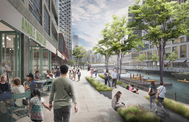 A waterfront development centered around a canal