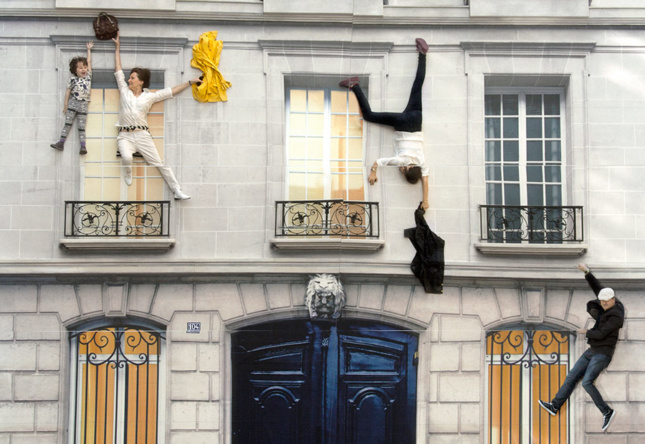 Leandro Erlich, Building, 2004. Digital print on linoleum, light, iron, wood, mirror. 26.25 x 19.69 x 39.37 ft (800 x 600 x 1,200 cm). Installation view: 104-Paris, 2011