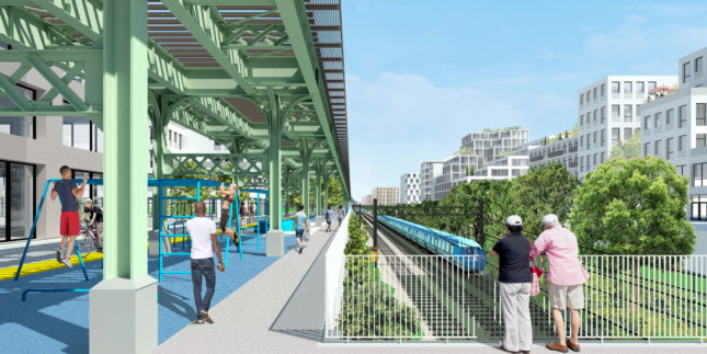 Rendering of the Triboro line at ground level in Brownsville.