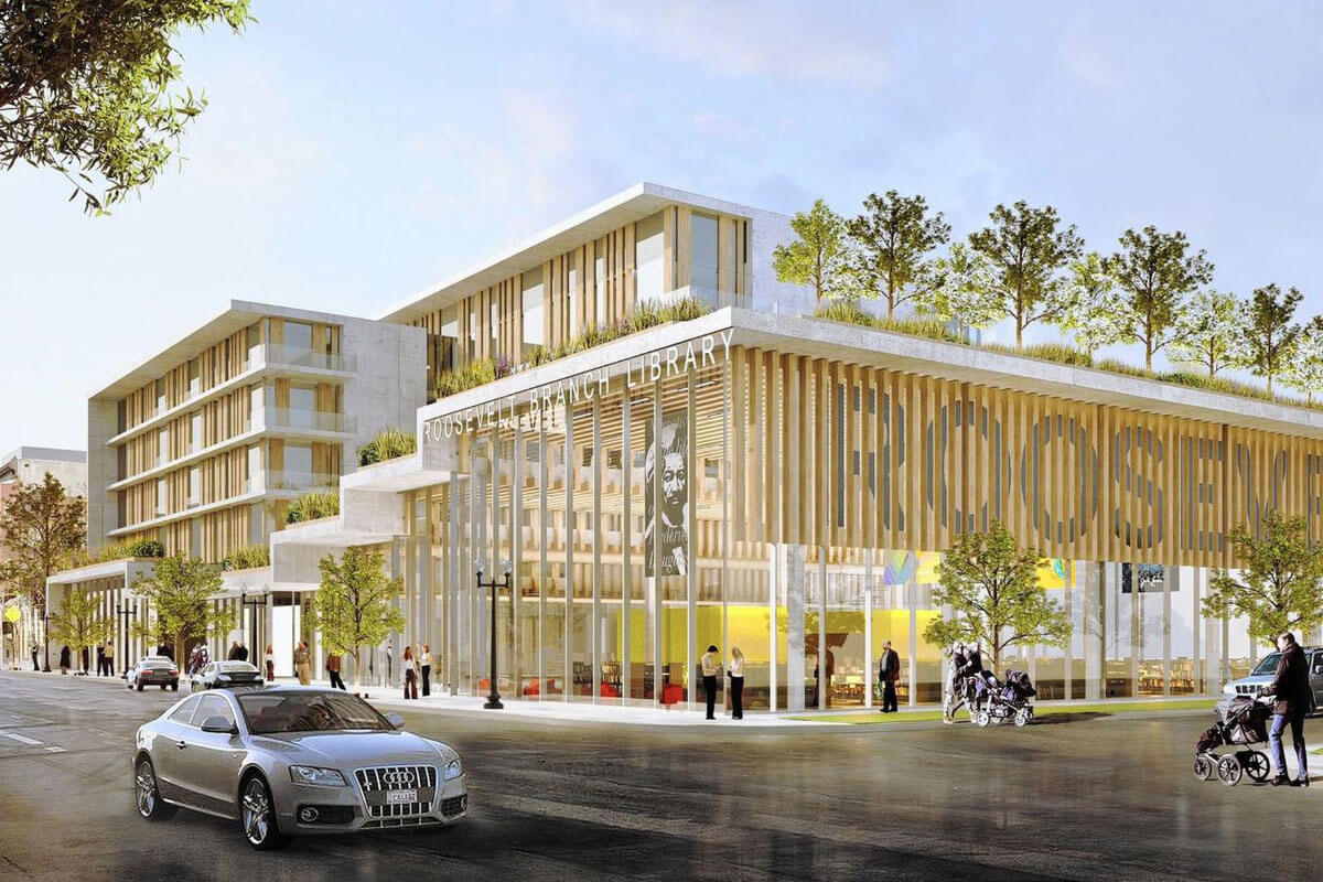 SOM-designed library and public housing complex to break ground in Chicago. (Courtesy SOM)