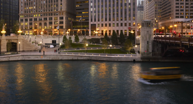 A look at Ross Barney Architects' civic and urban design. The Chicago Riverwalk. (Courtesy Ross Barney Architects)