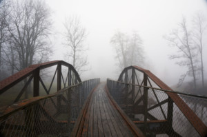 bridge in fog