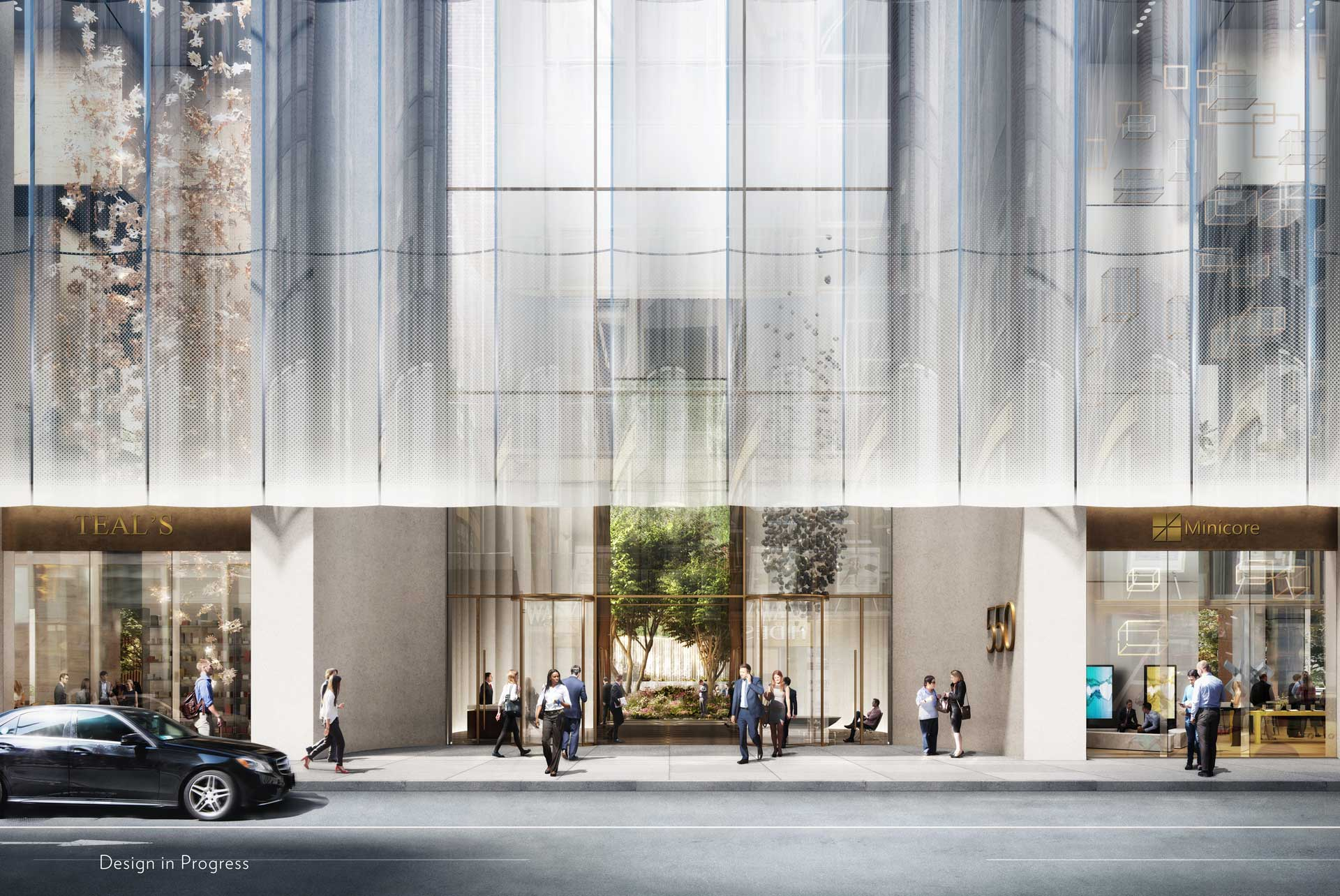 Snøhetta's rendition of the AT&T Building lobby. (DBOX/Rendering via 550 Madison)
