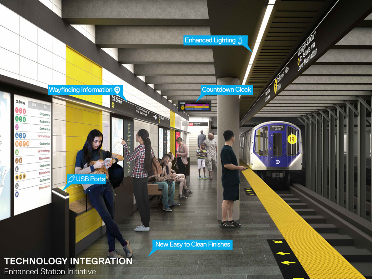 A rendering of a new subway platform under the Enhanced Station Initiative. (Courtesy the MTA)