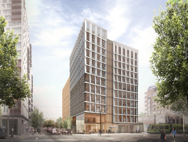 Rendering of mass timber highrise by LEVER Architecture