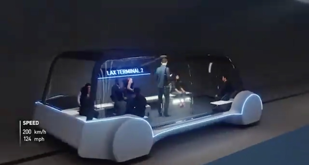 A still from Musk's video showing the revised Hyperloop bus-pod. (Courtesy Elon Musk)