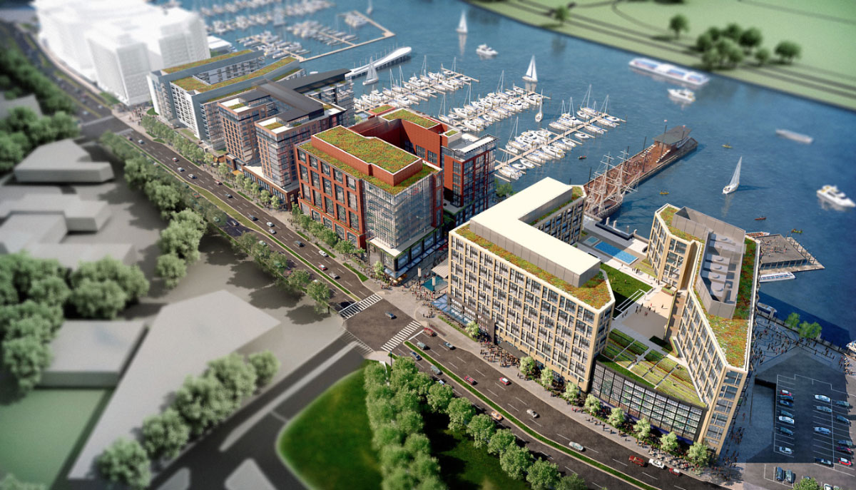 Aerial rendering of The Wharf's first phase. (Courtesy PN Hoffman & Associates Inc.)