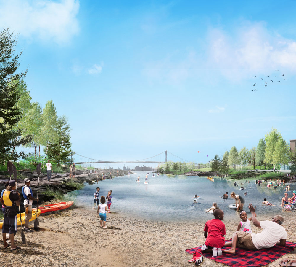 A carved-out cove along the riverfront in the summer. (Courtesy Michael Van Valkenburgh Associates)