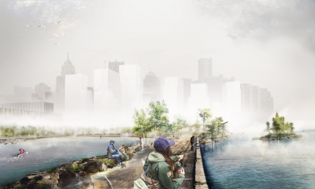Rendering of fishing pier in Detroit's West Riverfront Park (Courtesy MVVA and Detroit Riverfront Conservancy)