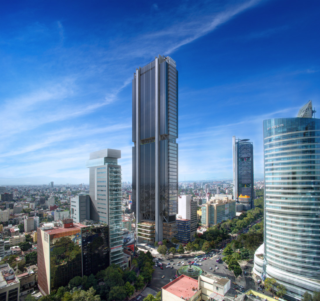 Rendering of Reforma 432 on Mexico City's skyline. (Courtesy Foster + Partners)