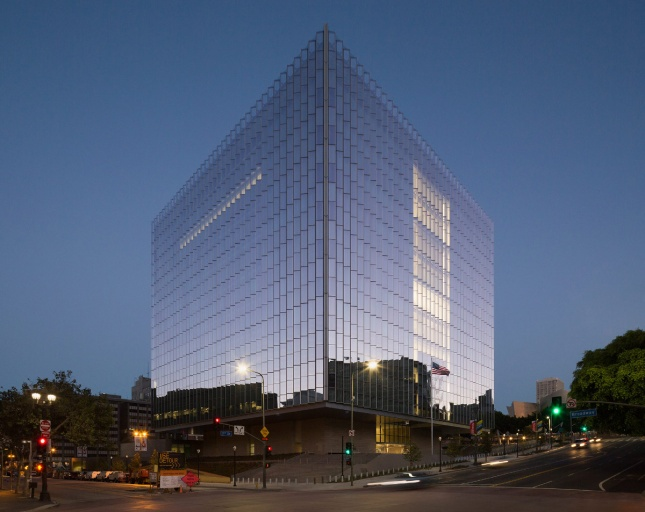 Photo of a large glass cube with ridges