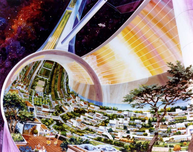 Rick Guidice, Stanford Torus Cutaway, 1975. NASA Ames Research Center. From the 2018 Graham Foundation Individual Grant to Fred Scharmen for Space Settlements. (Courtesy the Graham Foundation)