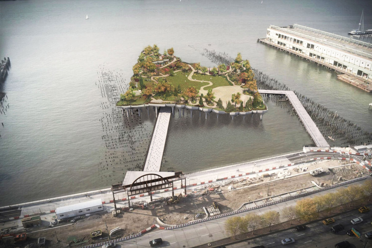 Aerial rendering of an island with two walkways