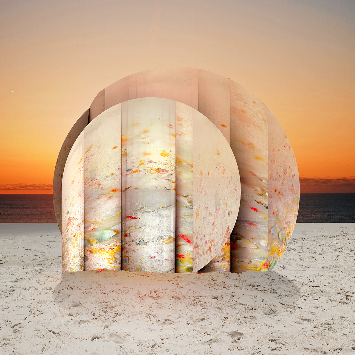 Rendering of a plastic rock on the beach