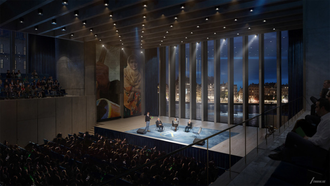 Rendering of the interior of the proposed Nobel Center