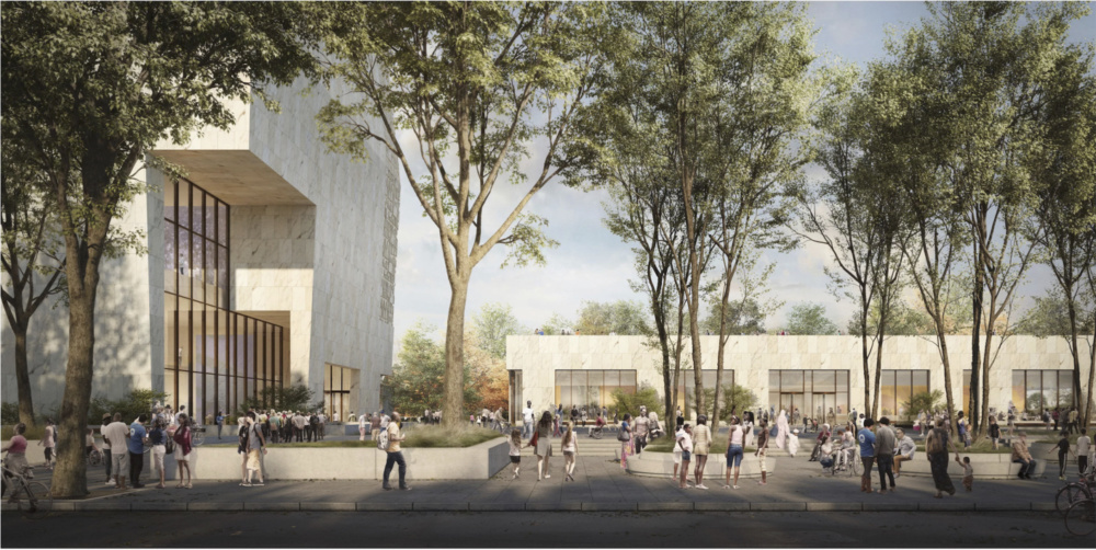 Rendering of central plaza with sunken courtyard removed (Courtesy Obama Foundation).