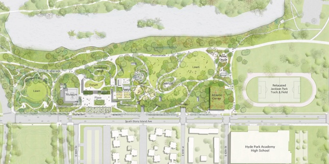 The reconfigured masterplan of the Obama Presidential Center (Courtesy Obama Foundation)