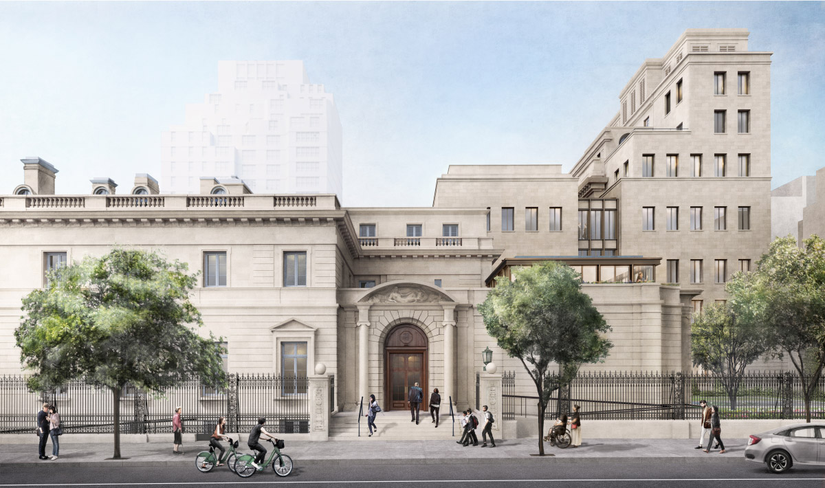 Rendering of the Frick expansion from East 70th Street