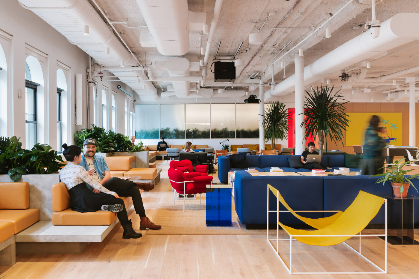 Interior lounge in a WeWork coworking area