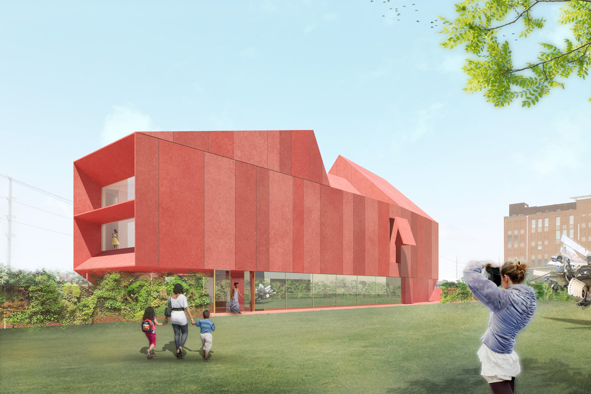 Rendering of red colored museum in park