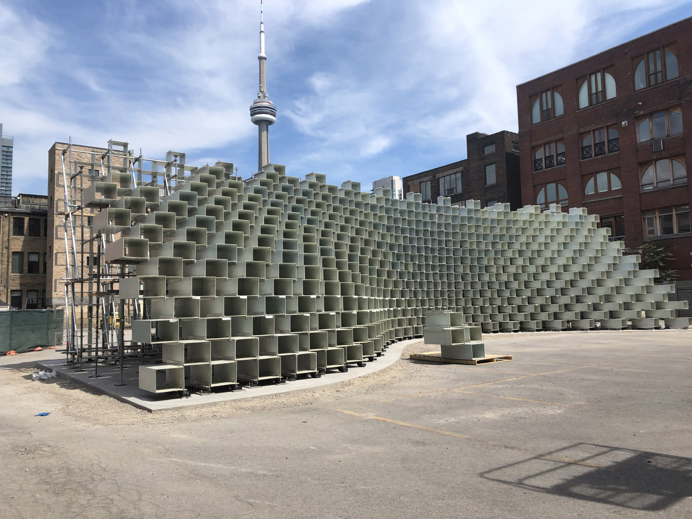 BIG's 2016 Serpentine pavilion being reconstructed in front of CN Tower. (Courtesy Westbank)