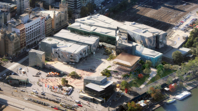 Aerial rendering of a public plaza