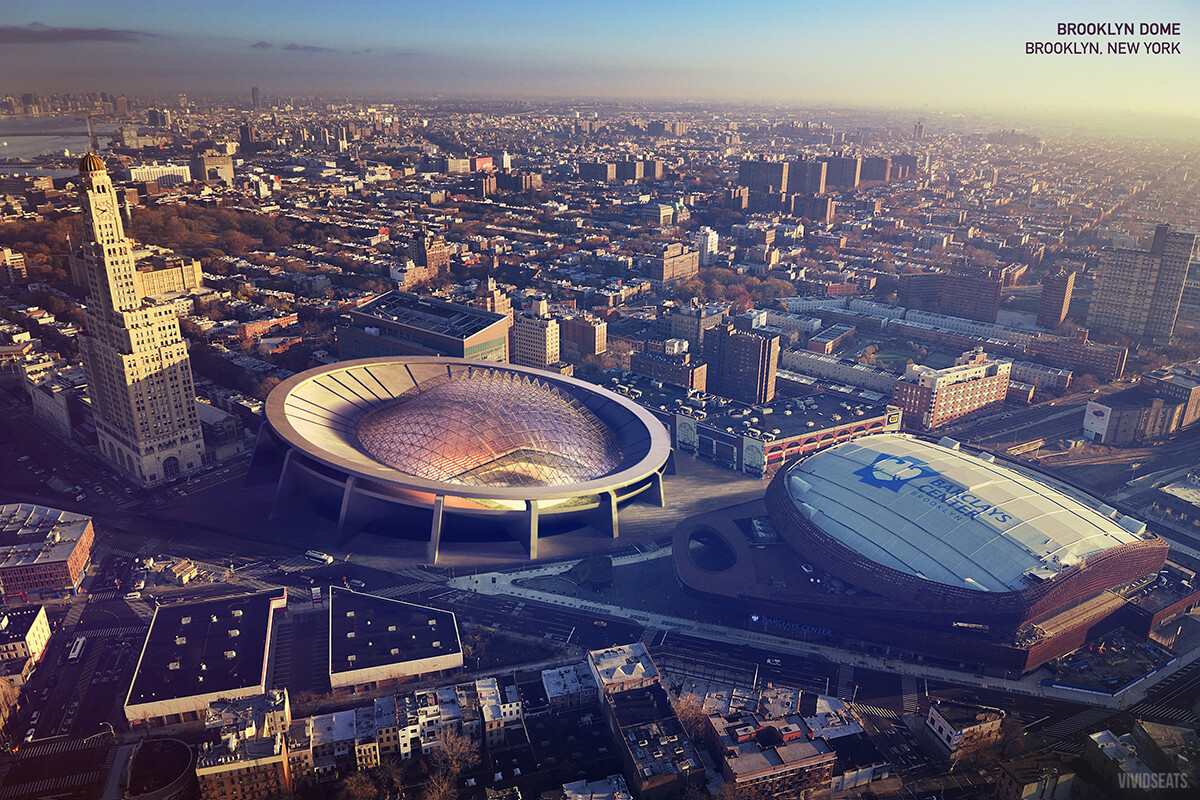 Rendering of a stadium in Brooklyn