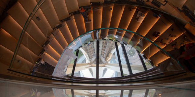 Photo of new interior staircase the renovated Seattle Space Needle
