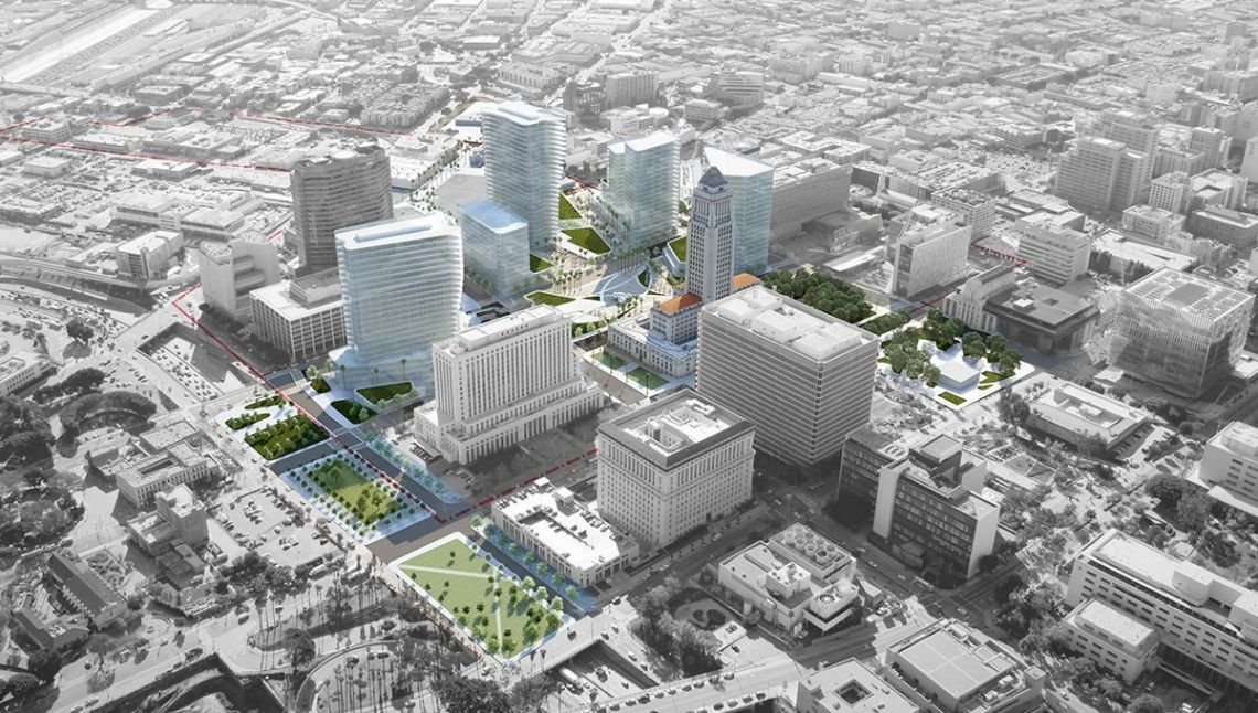 Rendering of plan to replace LAPD headquarters