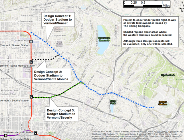 A map showing potential routes for a proposed underground hyperloop route