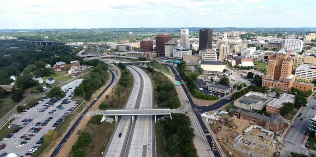 Aerial photo of the site of the Innerbelt National Forest