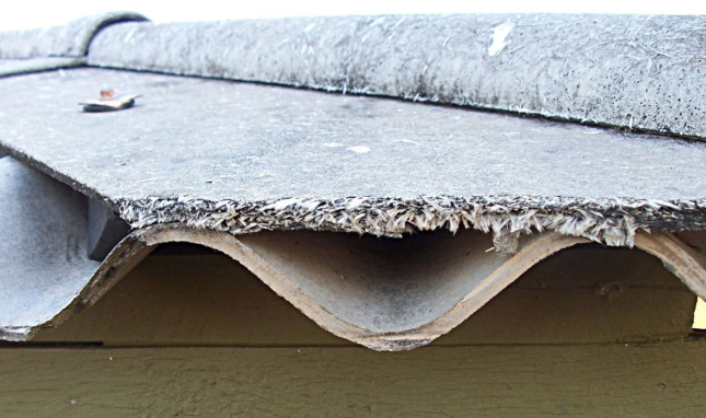 A close-up photo of roofing with asbestos