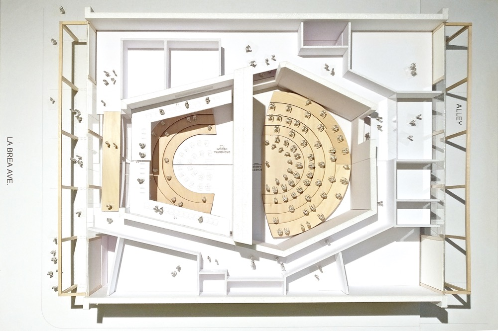 Model photo of Gehry Partners design for a new concert hall for the LA Philharmonic's Youth Orchestra of Los Angeles