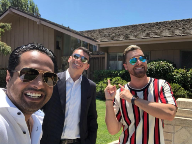 Instagram photo of Lance Bass in front of the Brady Bunch House