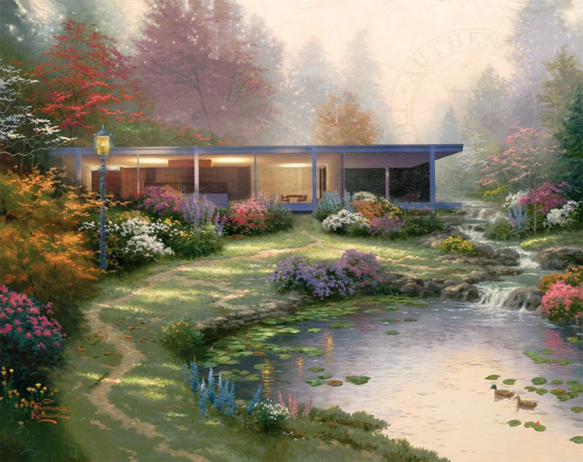 Farnsworth House inside a Thomas Kinkade painting