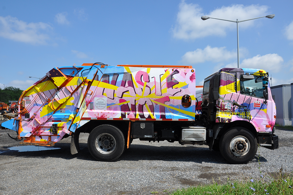 Recycling truck wrapped in art for Washington, D.C.