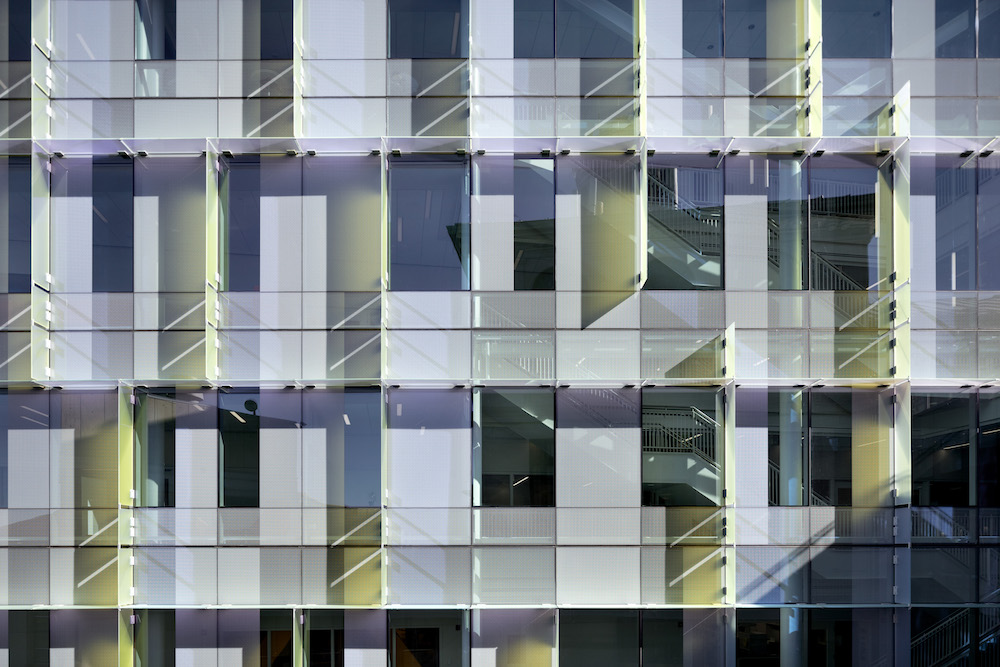 Photo of a dichroic glass facade