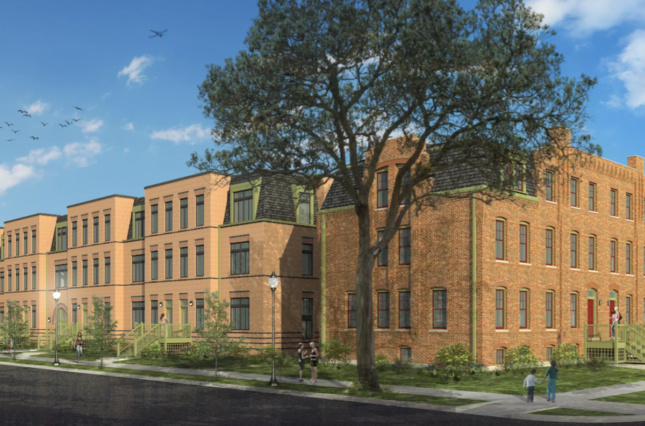 A rendering of the proposed Pullman Artspace Lofts