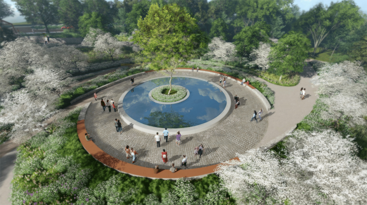 A rendering of the Sandy Hook memorial fountain