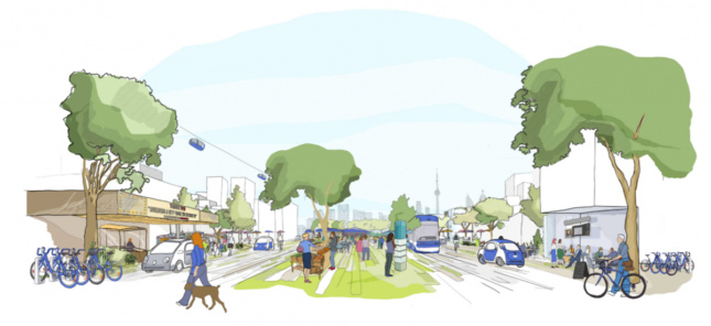A rendering of a smart shared street in Toronto by Sidewalk Labs