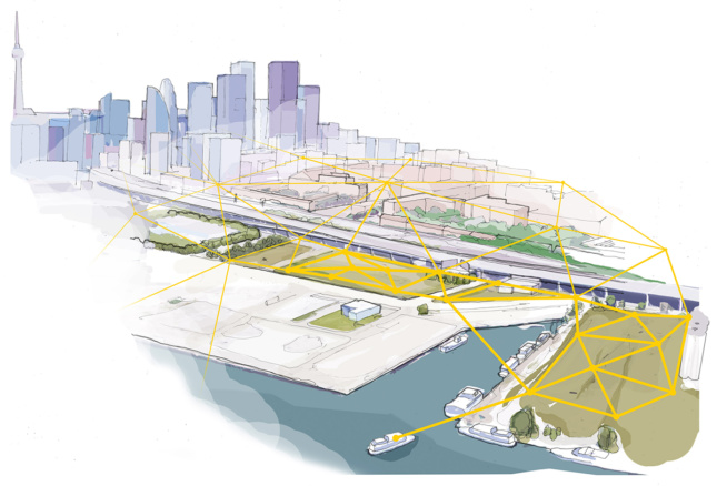 A rendering of the Toronto waterfront digital infrastructure by Sidewalk Labs