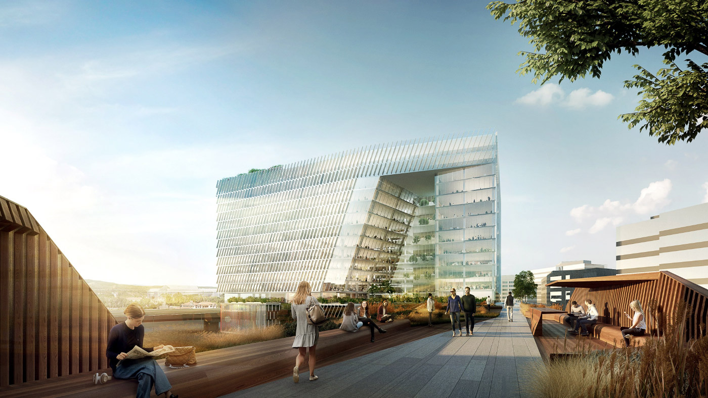 Rendering of proposed addition to Adobe's San Jose headquarters complex