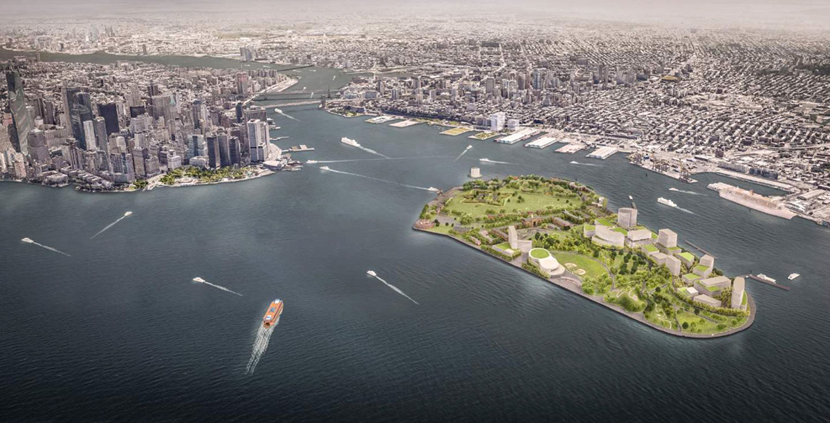 A rendering of proposed development on governors island