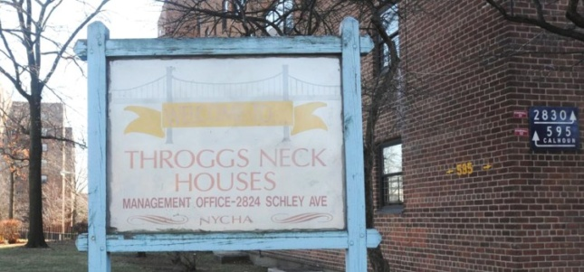 Photo of sign for NYCHA Throggs Neck Houses