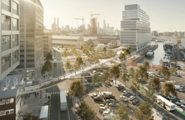 A rendering of the potential BNY Bridge from Dock 72 to the street outside the Brooklyn Navy Yard