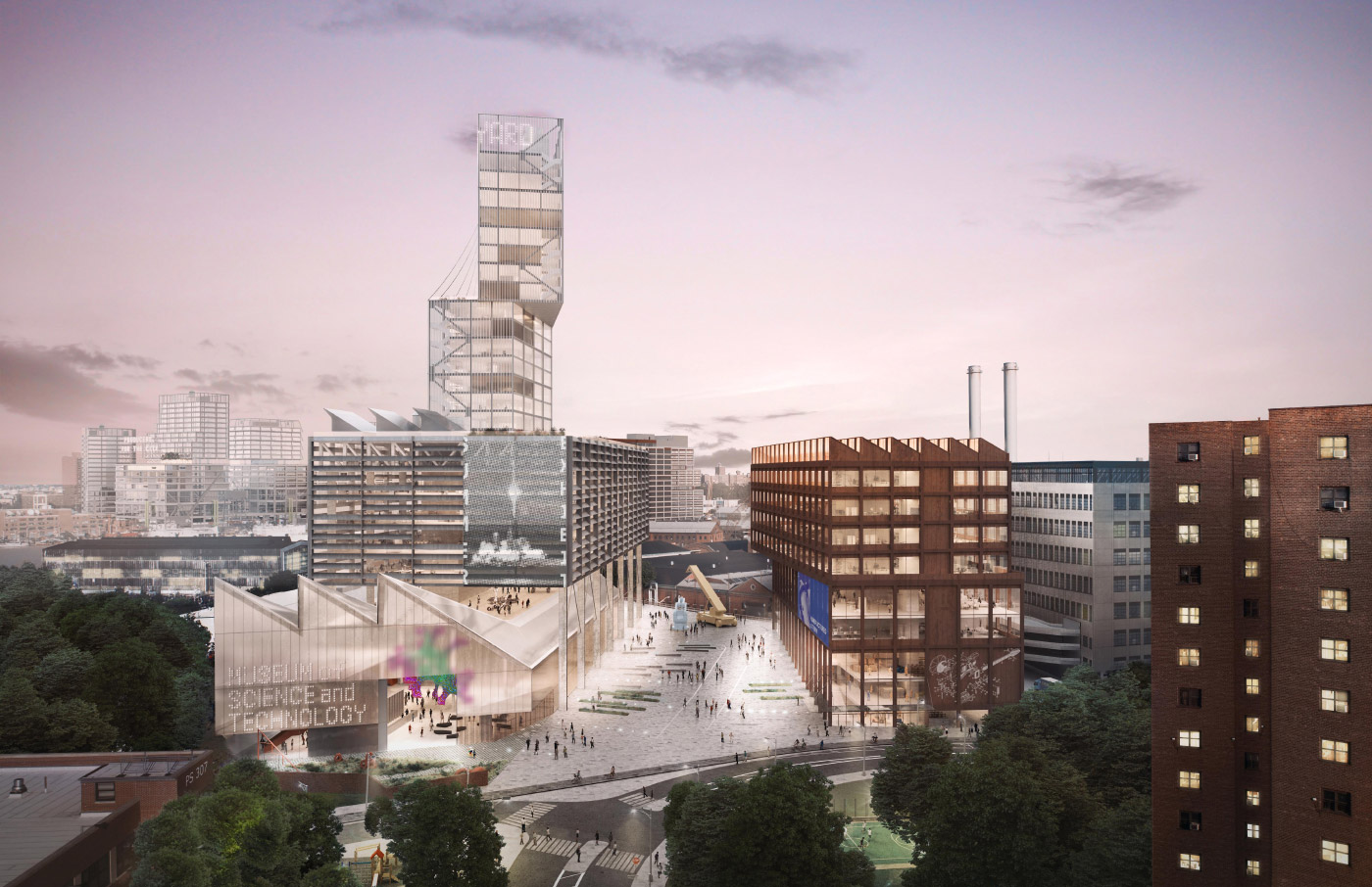 A proposed museum of science and technology at the Navy Street lot in the Brooklyn Navy Yard